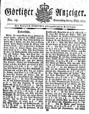 Görlitzer Anzeiger vom 25.03.1813