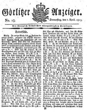 Görlitzer Anzeiger vom 01.04.1813