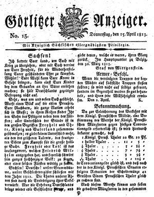 Görlitzer Anzeiger vom 15.04.1813