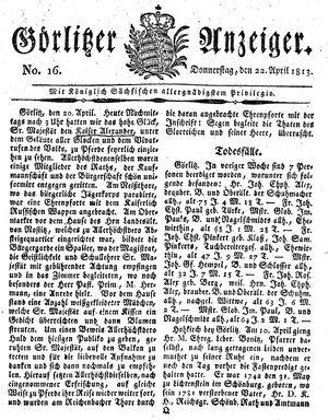 Görlitzer Anzeiger vom 22.04.1813
