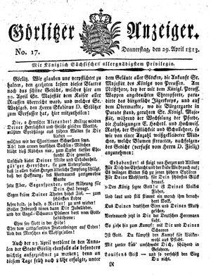 Görlitzer Anzeiger vom 29.04.1813