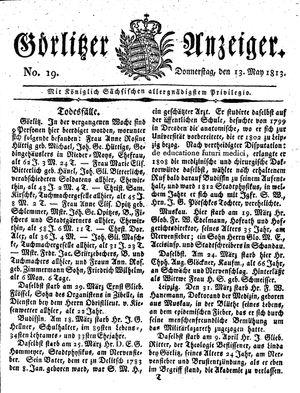 Görlitzer Anzeiger vom 13.05.1813