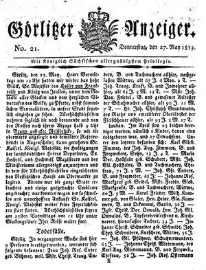 Görlitzer Anzeiger vom 27.05.1813