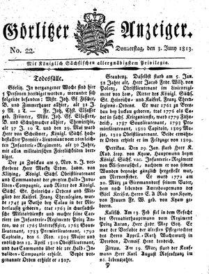 Görlitzer Anzeiger vom 03.06.1813