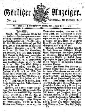 Görlitzer Anzeiger vom 17.06.1813