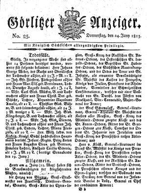 Görlitzer Anzeiger vom 24.06.1813