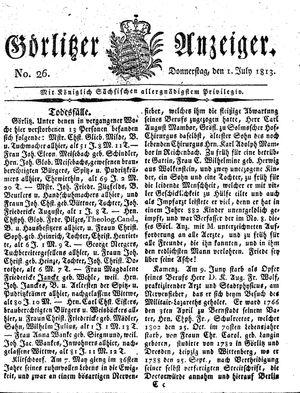 Görlitzer Anzeiger vom 01.07.1813
