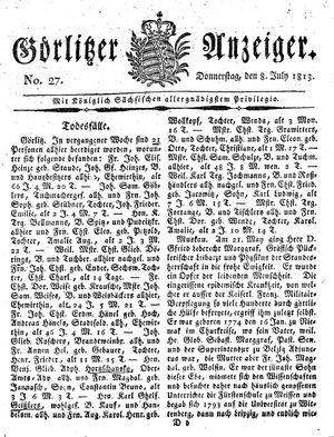 Görlitzer Anzeiger vom 08.07.1813