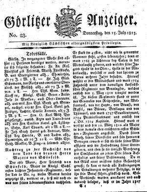 Görlitzer Anzeiger vom 15.07.1813