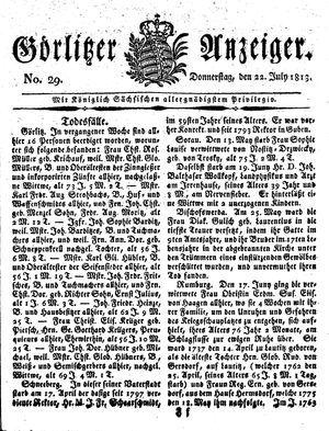 Görlitzer Anzeiger vom 22.07.1813