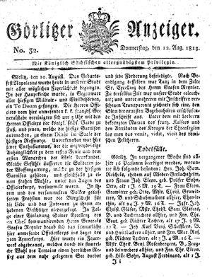 Görlitzer Anzeiger vom 12.08.1813