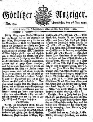 Görlitzer Anzeiger vom 26.08.1813