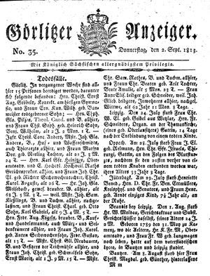 Görlitzer Anzeiger vom 02.09.1813