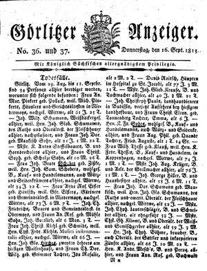 Görlitzer Anzeiger vom 16.09.1813