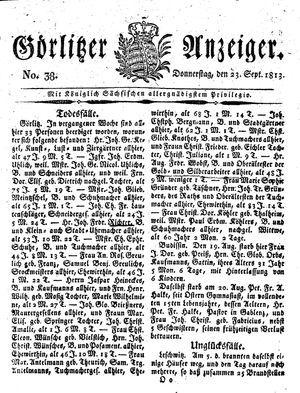 Görlitzer Anzeiger vom 23.09.1813