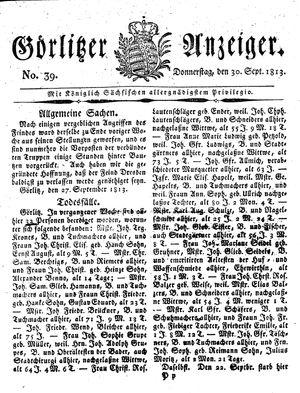 Görlitzer Anzeiger vom 30.09.1813
