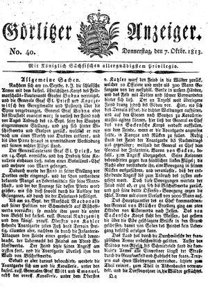 Görlitzer Anzeiger vom 07.10.1813
