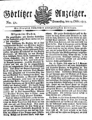 Görlitzer Anzeiger vom 14.10.1813