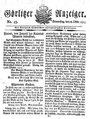 Görlitzer Anzeiger vom 28.10.1813