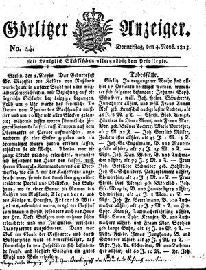 Görlitzer Anzeiger vom 04.11.1813