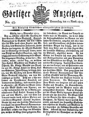 Görlitzer Anzeiger vom 11.11.1813