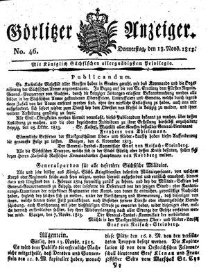 Görlitzer Anzeiger vom 18.11.1813