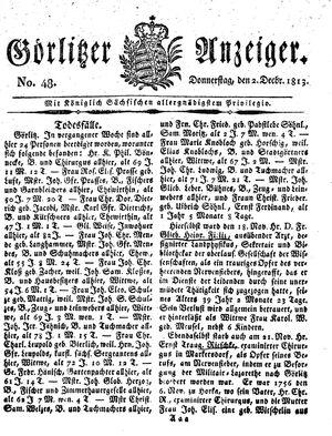 Görlitzer Anzeiger vom 02.12.1813
