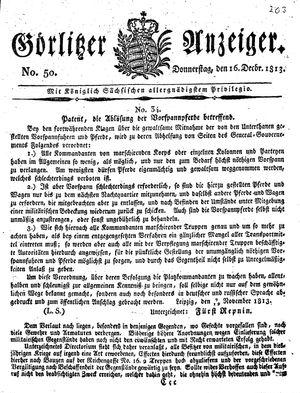 Görlitzer Anzeiger vom 16.12.1813