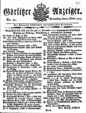 Görlitzer Anzeiger vom 23.12.1813