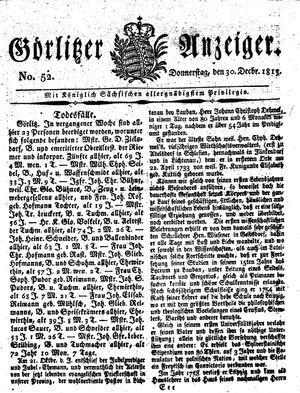 Görlitzer Anzeiger vom 30.12.1813