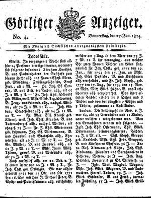 Görlitzer Anzeiger vom 27.01.1814