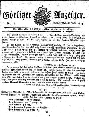 Görlitzer Anzeiger vom 03.02.1814