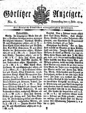 Görlitzer Anzeiger on Feb 10, 1814