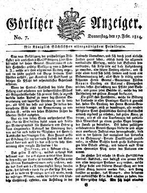 Görlitzer Anzeiger on Feb 17, 1814