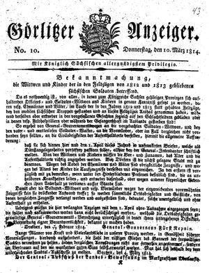 Görlitzer Anzeiger vom 10.03.1814