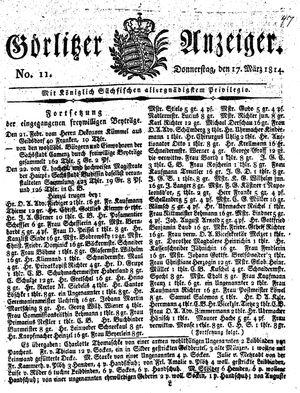 Görlitzer Anzeiger on Mar 17, 1814