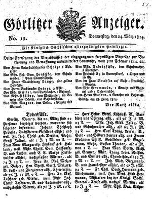 Görlitzer Anzeiger on Mar 24, 1814