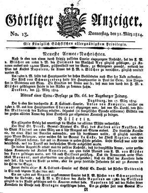 Görlitzer Anzeiger vom 31.03.1814