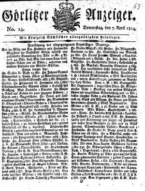 Görlitzer Anzeiger vom 07.04.1814