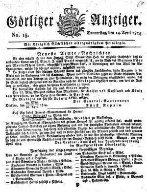 Görlitzer Anzeiger on Apr 14, 1814