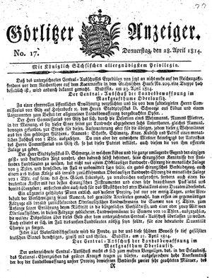 Görlitzer Anzeiger on Apr 28, 1814