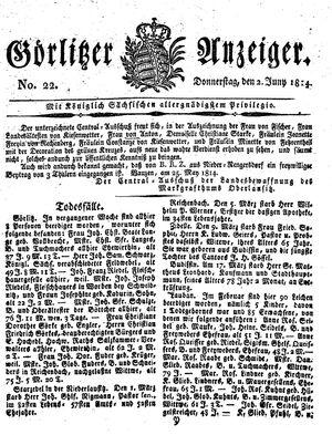 Görlitzer Anzeiger vom 02.06.1814