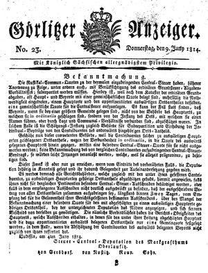 Görlitzer Anzeiger vom 09.06.1814
