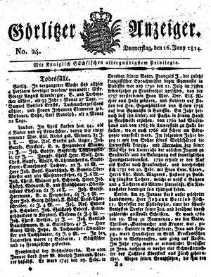 Görlitzer Anzeiger on Jun 16, 1814