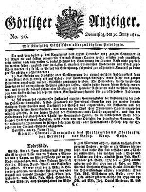 Görlitzer Anzeiger on Jun 30, 1814