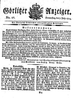 Görlitzer Anzeiger vom 07.07.1814