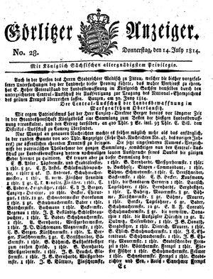 Görlitzer Anzeiger vom 14.07.1814