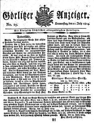 Görlitzer Anzeiger vom 21.07.1814