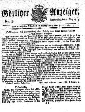 Görlitzer Anzeiger vom 04.08.1814