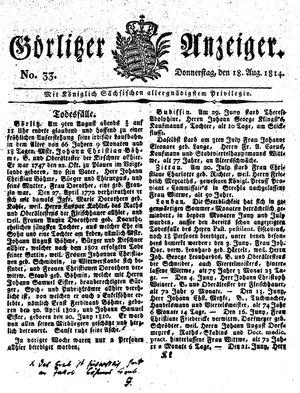 Görlitzer Anzeiger on Aug 18, 1814